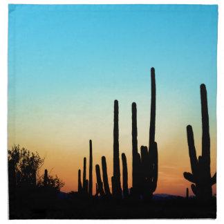 Puesta del sol del Saguaro Servilleta Imprimida
