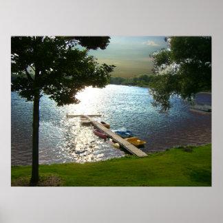 Puesta del sol del st del lago michigan póster