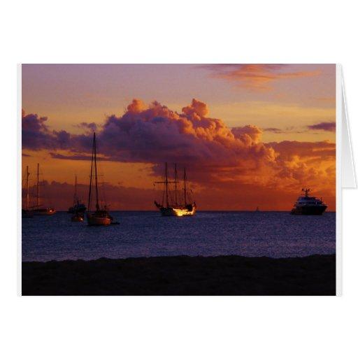 Puesta del sol del St. Maarten Felicitacion