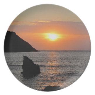 Puesta del sol del sur .1 de Autunm de la ensenada Platos