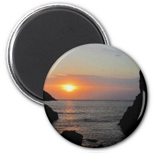 Puesta del sol del sur de Autunm de la ensenada de Imán De Frigorifico