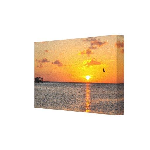 Puesta del sol del sur del punto impresión en lienzo estirada