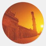 Puesta del sol del Taj Mahal Pegatina Redonda