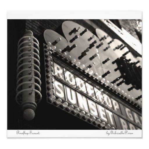 Puesta del sol del tejado - impresiones de neón de impresiones fotográficas
