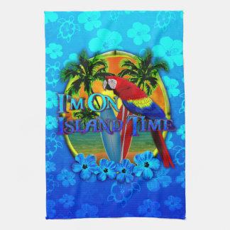 Puesta del sol del tiempo de la isla toalla de mano