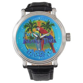 Puesta del sol del tiempo de la isla relojes de pulsera