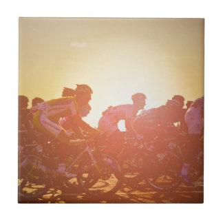 Puesta del sol del Tour de France Azulejo Cuadrado Pequeño