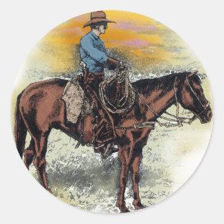 Puesta del sol del vaquero n pegatina redonda