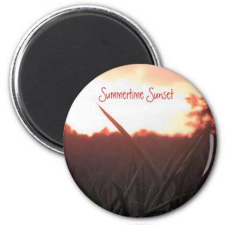 Puesta del sol del verano imán redondo 5 cm