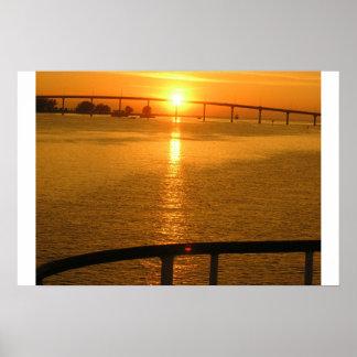 Puesta del sol del verano póster