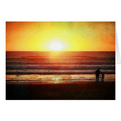 Puesta del sol del verano tarjeta de felicitación