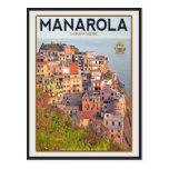 Puesta del sol del viñedo de Manarola (blanca) Postal