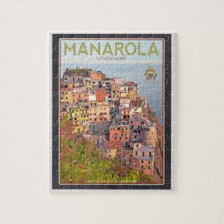 Puesta del sol del viñedo de Manarola - en negro Rompecabezas