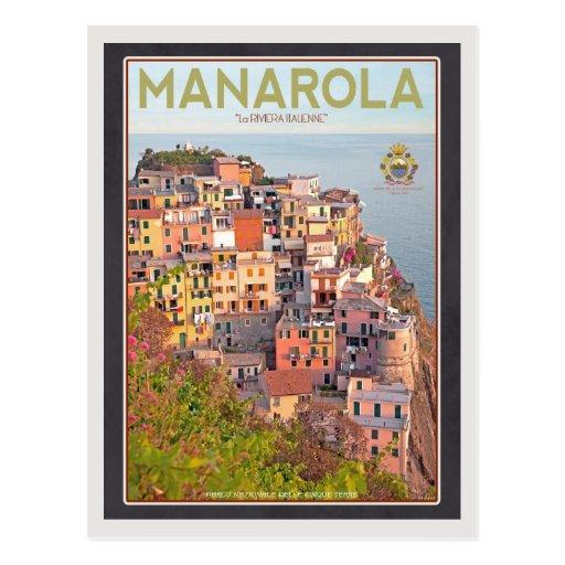 Puesta del sol del viñedo de Manarola - en negro Postal
