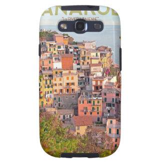 Puesta del sol del viñedo de Manarola (negro) Samsung Galaxy S3 Carcasas