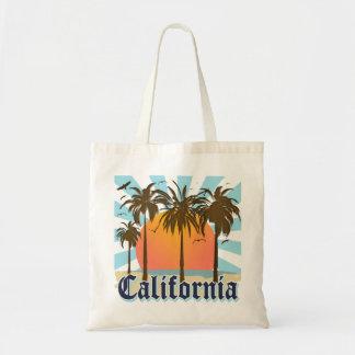 Puesta del sol del vintage de California Bolsa De Mano