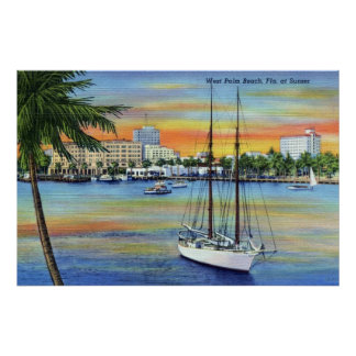 Puesta del sol del vintage en West Palm Beach la F Poster