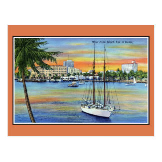 Puesta del sol del vintage en West Palm Beach la F Tarjeta Postal