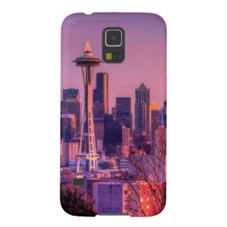 Puesta del sol detrás del horizonte de Seattle del Fundas De Galaxy S5