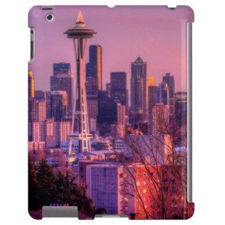 Puesta del sol detrás del horizonte de Seattle del Funda Para iPad