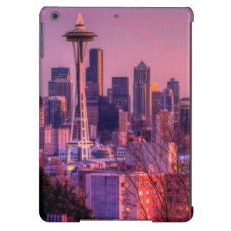 Puesta del sol detrás del horizonte de Seattle del Funda Para iPad Air