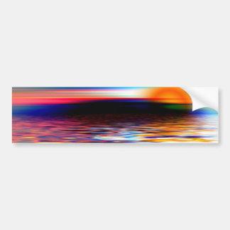 Puesta del sol divina colorida del arco iris en la pegatina de parachoque