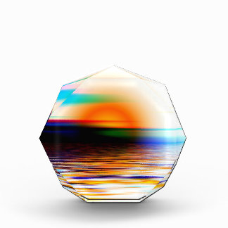 Puesta del sol divina colorida del arco iris en la