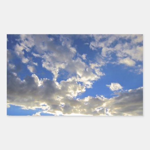 Puesta del sol divina pegatina rectangular