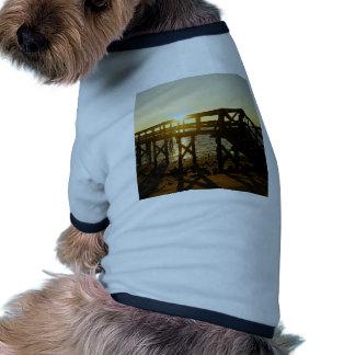 Puesta del sol dominante del cedro camiseta con mangas para perro