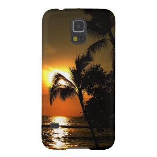 Puesta del sol dramática de la playa de la palmera carcasa para galaxy s5