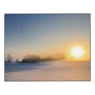 Puesta del sol el día de navidad en campo impresión en madera