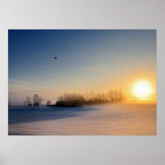 Puesta del sol el día de navidad en campo póster