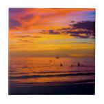 Puesta del sol el Golfo de México Azulejo Ceramica