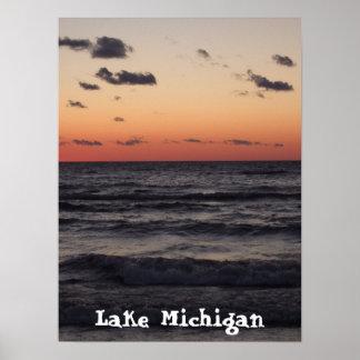 puesta del sol, el lago Michigan Póster