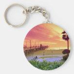 Puesta del sol, embarcadero de Huntington Beach, C Llaveros Personalizados