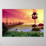 Puesta del sol, embarcadero de Huntington Beach, C Poster