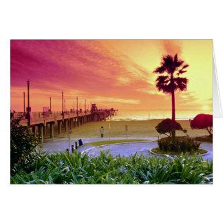 Puesta del sol, embarcadero de Huntington Beach, Tarjeta De Felicitación
