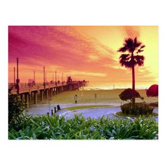 Puesta del sol, embarcadero de Huntington Beach, Tarjetas Postales