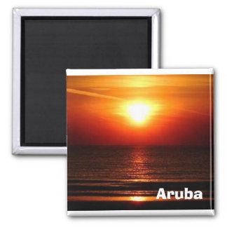 puesta del sol en Aruba Imán Cuadrado