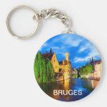 Puesta del sol en Brujas. Bélgica Llavero Personalizado