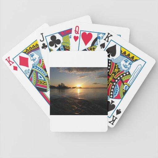 Puesta del sol en cielo baraja cartas de poker
