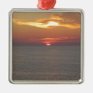 Puesta del sol en Clearwater Adorno Navideño Cuadrado De Metal
