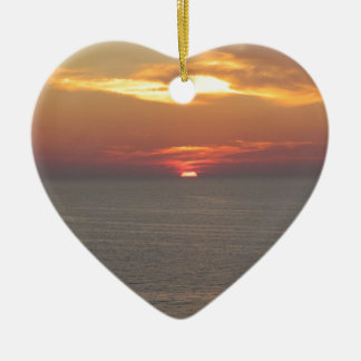 Puesta del sol en Clearwater Adorno Navideño De Cerámica En Forma De Corazón