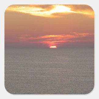 Puesta del sol en Clearwater Pegatina Cuadrada