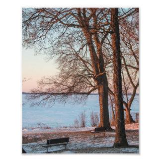 Puesta del sol en colores pastel del invierno fotografías