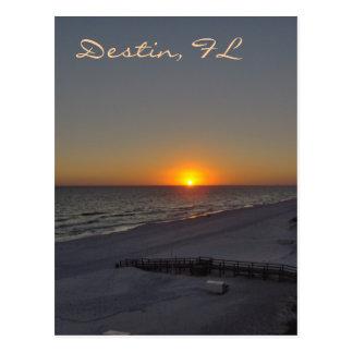 Puesta del sol en Destin, FL Postal
