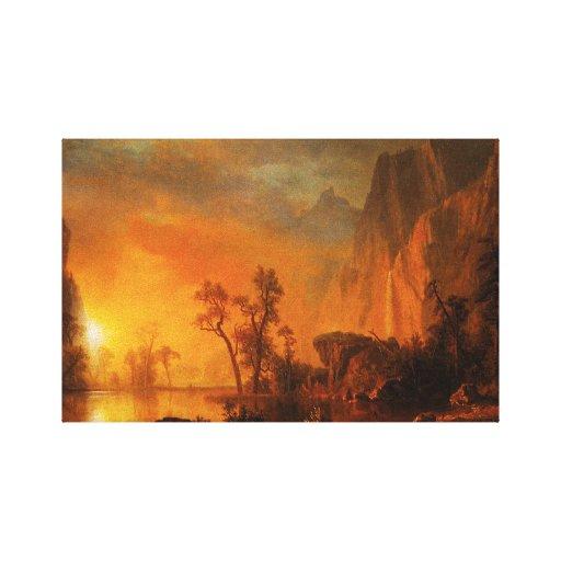 Puesta del sol en el abrigo de la lona de Rockies Impresiones En Lona