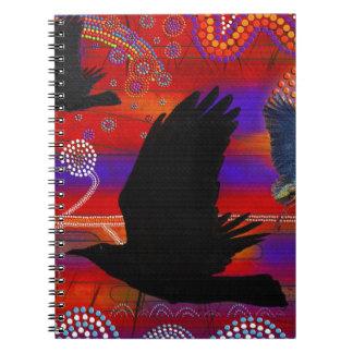 Puesta del sol en el arte aborigen australiano de spiral notebooks