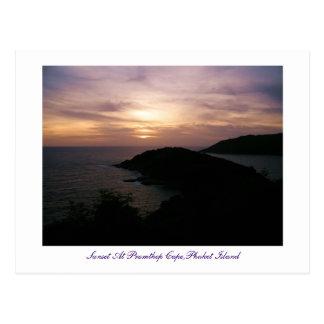 Puesta del sol en el cabo de Promthep, isla de Phu Postales