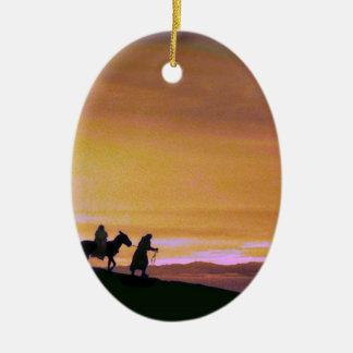 Puesta del sol en el camino a Belén Ornaments Para Arbol De Navidad